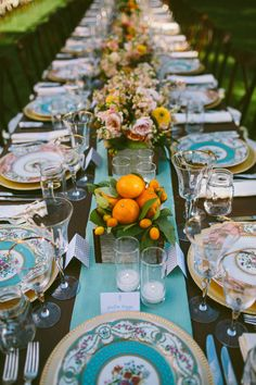 vintage china tablescape, photo by Caroline Ghetes http://ruffledblog.com/colorful-sonoma-valley-wedding #weddingideas #receptions #tablescapes