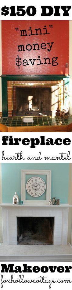 Budget DIY Fireplace Hearth and Mantel Makeover www.foxhollowcottage.com
