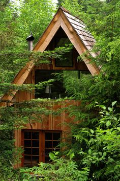 Inspired by Japanese architecture, this is the finished home in the woods of Cape Falcon, Oregon.