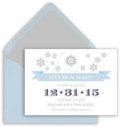 Falling Snowflakes Save the Date Announcements