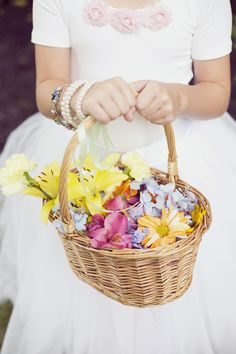 colorful petals for the flower girl // photo by Dreamlove Weddings, flowers by Petal Floral Design // http://ruffledblog.com/massachusetts-orchard-wedding