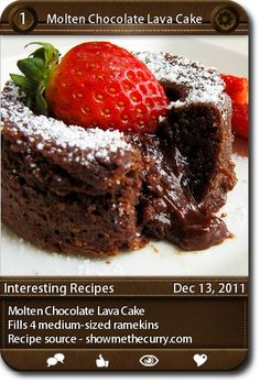 Molten Chocolate Lava Cake Fills 4 medium-sized ramekins Recipe source - showmethecurry.com ...
