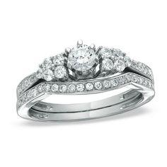 band bridal, three stone, 14k white, weddings, bridal set