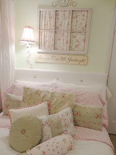 I have one bedroom that I'm slowly transforming into a shabby chic one~  Love the window pane above the headboard~