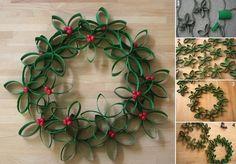 DIY Christmas Wreath Using Toilet Paper Rolls