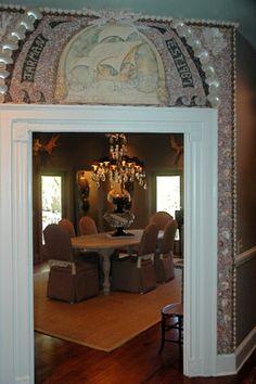 Savannah interior shell design for the nautical lovers. Beach house decor.