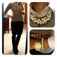 Fully buttoned cardigan with an Oxford skirt underneath & a skinny belt