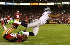 Seattle didn't capitalize on this golden opportunity as Golden Tate couldn't come up with this catch in the second quarter after getting tangled up with the 49ers' Dashon Goldson. San Francisco beat Seattle, 13-6. (Photo by John Lok / The Seattle Times)