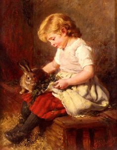Felix Schlesinger (1833-1910) — The Pet Rabbit  (544×698)