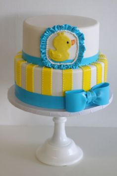 Rubber ducky cake...love the ruffle around the duck