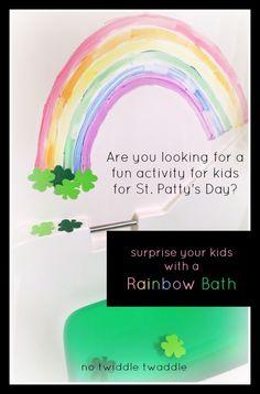 baths, activities for kids, theme bath, rainbows, rainbow bath, st patricks day, st patti, kid bath fun, bath time
