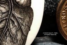Detail of the scrimshaw heart by Jason R. Webb