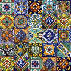 mexican tile, idea, pattern, color, clay tiles, stair riser, spanish style homes, mosaic, kitchen tiles
