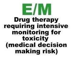 Drug Therapy Requiring Intensive Monitoring For Toxicity (List) For High Risk Medical Decision Making (MDM) in E/M Explained. financ report, practic manag, happi hospitalist, cpt code, work stuff