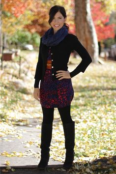 Ready for anything - Fall leggings and boots #madeinUSA outfit details: Print silk dress by Nell (tucked in and worn as a top here);Black knit button-front cardigan byBeckons;black leggings byVincefromRag consignments,Boulder;custom leatherbeltby Zeke Bogusky; my own earrings