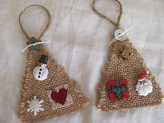 burlap christmas ornaments | Burlap Christmas Tree Ornament X 2 by GTcottagecrafts on Etsy