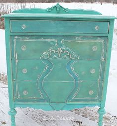 Turquoise Highboy Dresser hand painted with CeCe Caldwell's Santa Fe Turquoise, Kentucky Mint, Blue Montana Sky, Pittsburgh Gray, Destin Gulf Green and Nantucket Spray.  Sealed with clear and light aging wax.  http://shizzle-design.com/2013/03/turquoise-highboy-dresser-painted-with.html