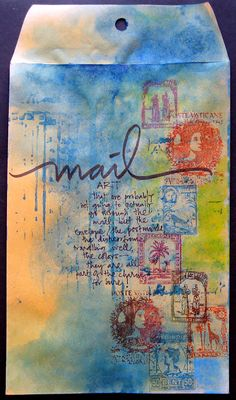 Love love this mail art of Mou Saha and dying to try something like this myself. Introduced to the Rubber Cafe stamps in this blog hop. Just another fabulous shaunaleelange curation! stamp art, envelope art, journal pages, letter, art journals, collag, mixed media, mix media, mail art