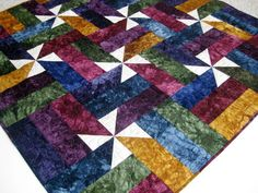 Jewel Tone Patchwork Wall Hanging Lap Quilt Hand Dyed from Picsity.com