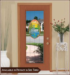 Lost Lake Door Panel (see-thru): Enjoy the beauty of nature in this stained glass design which recreates the beautiful style of Tiffany stained glass.
