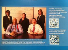QR Code in annual report of NACME that links to a thank you from a student.