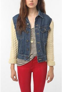 (studs and pearls): diy: Sweater Sleeved Denim Jacket