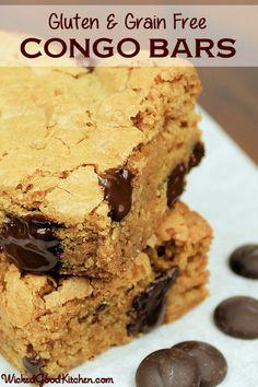 Gluten & Grain Free Congo Bars or Chocolate Chip Blondies by WickedGoodKitchen.com #glutenfree #grainfree #dairyfree #recipe
