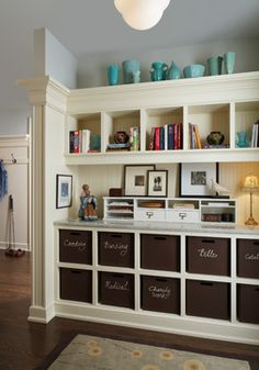 I am crazy for this design.  The detail I would add is that the bins should be in alphabetical order!  River Drive Home - traditional - Home Office - Detroit - AMW Design Studio