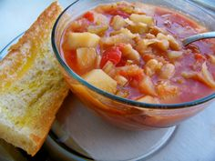 Cabbage, tomato & potato soup.