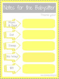 Notes for Babysitter Printable