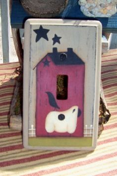 Switchplate Cover Primitive Single Saltbox House Sheep Handpainted. $10,00, via Etsy.