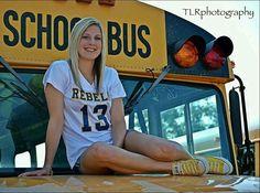 Senior pictures buses, cheerleading, senior pictures, senior year, bus idea, sports, yellow