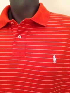 "RALPH LAUREN POLO Orange White Stripe shirt sz L Up To 48"" Chest 100% cotton #PoloRalphLauren #PoloRugby"