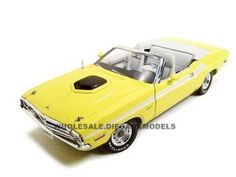 1971 Dodge Challenger Diecast Model Convertible Yellow 1/18 Die Cast Car By Greenlight