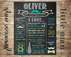 First Birthday Chalkboard - Mustache & Bow Ties 100% CUSTOMIZED Poster Sign Birthday Printable File - Baby's First Birthday - Boy or Girl