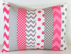 Throw Pillow Cover, Nursery Cushion Cover, Baby Girl Nursery Decor, Playroom Pillow Cover, 12 x 16 Inches, Hot Pink Bright Pink Gray Chevron on Etsy, $22.50