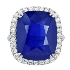 Ceylon 21.19ct Ceylon Sapphire and Diamond Ring #CocktailRings