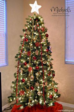 Red and Gold Christmas Tree by @A Night Owl Blog #JustAddMichaels