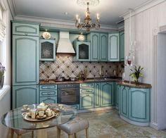 A concept render for a small kitchen with traditional blue cabinets.