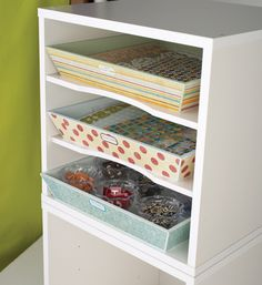removable trays in shelves