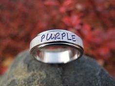PERSONALIZED RING Hand Stamped Diamond Cut PURPLE by namerings