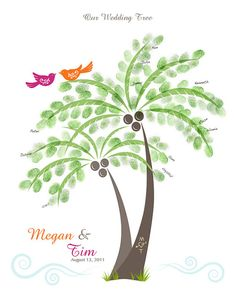 palm tree version of the thumbprint guestbook