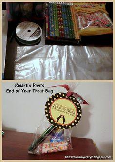 End of School Year Ideas ... Smartie Pants Treat Bags
