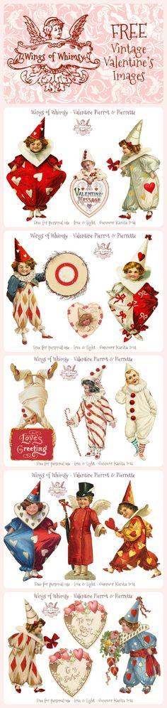 Wings of Whimsy: Vintage Valentine Pierrots & Pierrettes - free for personal use #vintage #printable #ephemera #freebie