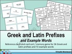 Greek and Latin Prefixes: Reference Cards and Card Sort from Virtually Montessori on TeachersNotebook.com -  (30 pages)  - Greek and Latin Prefixes: Reference Cards and Card Sort from Virtually Montessori  This material includes both reference cards and card sort activities intended for practice in identifying the correct meaning of 36 various Greek and Latin prefixes and exa