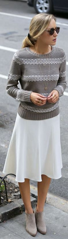 midi skirts, fall fashions, knit sweaters, grey and white sweater, outfit, closet, shoe, boots, casual dressy