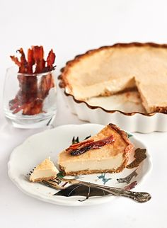 maple custard pie with candied bacon