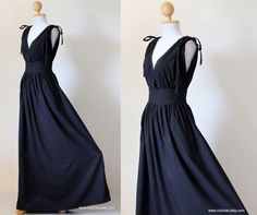 Black Maxi Dress Sleeveless or Short Sleeve Black Cotton Evening Dress : Classy Gorgeous Collection. $59.00, via Etsy.