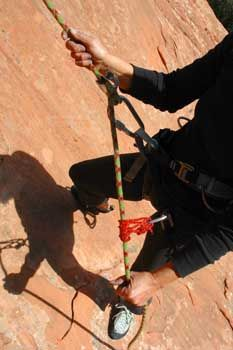 Using an autoblock hitch to back-up a rappel (2:54) - Climbing Life