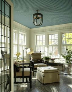 painted ceiling - sunporch
